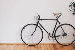 Pedal bike on clean hardwood floors